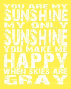 You are My Sunshine Quote - 8x10 or 8x8 Canvas Textured Art PRINT - Yellow and White Typography - Made by artstudio54 on ETSY