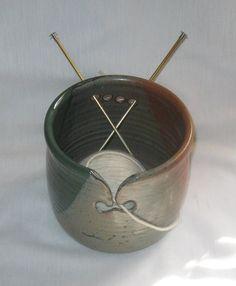 Large Yarn Bowl Knitting Bowl Ceramic Yarn Bowl by MathewsPottery