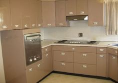 Metal Kitchen Cabinets Vintage ann recreates the look of vintage metal kitchen cabinets -- in