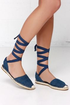 Tied and Seek Blue Denim Espadrille Leg Wrap Sandals