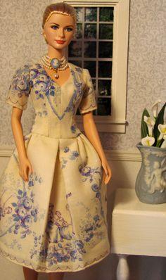 Wedgewood and toile OOAK Barbie doll dress made from vintage hankie