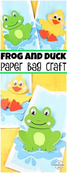 Duck and frog paper bag craft A perfect craft idea for preschool kids with a free template. #Duckcraft #frogpapercraft #preschoolcrafts #preschool #artsandcrafts #craftsforkids #crafting #springcrafts #summercrafts #craftroom #kidsactivities #children #summeractivities