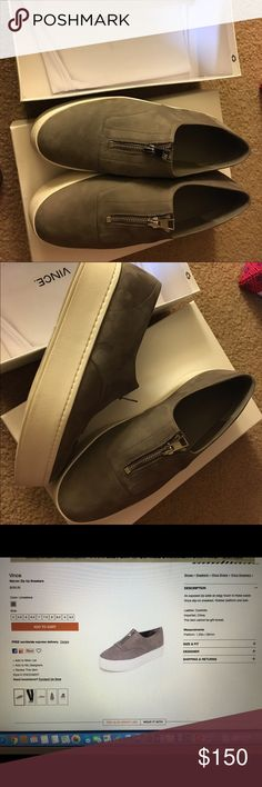 Vince Warner zip up sneaker 7.5 New in box,tried on once. Vince Warner zip up sneaker in gray suede. Vince Shoes Flats & Loafers
