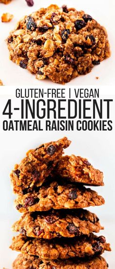 Soft and chewy, moist and tender, these gluten-free vegan oatmeal raisin cookies are made with nothing but healthy ingredients. Using a mixture made of mashed banana and coconut oil instead of butter or shortening and sweetened with maple syrup, these sugar-free flourless cookies are the perfect guilt-free snack (or breakfast!). These are also gluten-free, egg-free, dairy-free and nut-free. | onecleverchef.com #gluten-free #vegan #nutfree #dairyfree #healthycookies #glutenfreedessert