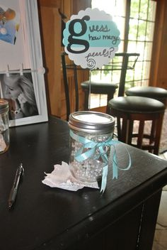 Guess how many pearls are in the jar & win a prize {Breakfast at Tiffany's Wedding Shower}