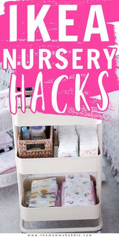 IKEA nursery hacks and ideas. Organise your baby's clothes, diapers, care essentials and toys on a budget using IKEA furniture and storage. Ikea Nursery, Nursery Decor, Nursery Storage, Nursery Ideas, Diaper Storage, Toy Storage, Kids And Parenting, Parenting Hacks, Toy Organization