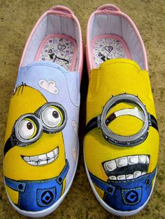 Custom Hand Painted canvas shoes x Minion x by ArtByBi on Etsy, fashion high-heel shoes for women Painted Canvas Shoes, Custom Painted Shoes, Hand Painted Shoes, Custom Shoes, Painted Sneakers, Crazy Shoes, Me Too Shoes, Minion Shoes, Shoe Crafts