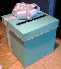 New Tiffany & Co inspired money gift card one tier box for a wedding baby shower or birthday party Tiffany Party, Tiffany Theme, Tiffany Birthday Party, Tiffany Wedding, Blue Wedding, Sweet 16 Birthday, 16th Birthday, Girl Birthday, Birthday Parties
