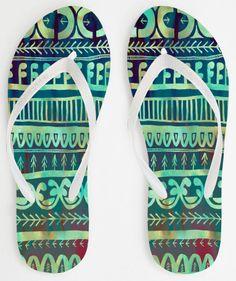 Noni print on flip-flops by SchatziBrown on Sandalista  #flip-flop #summer #green