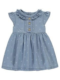 Floral Print Denim Dress, read reviews and buy online at George at ASDA. Shop from our latest range in Baby. Little flowers and a ruffled neckline, this deni...