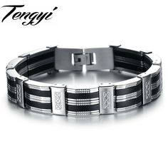 Personality Men Bracelet Quality Stainless Steel & Silicone Bracelets Men Jewelry Accessories For Best Friends Wristband ph850