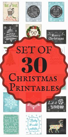 Set of 30 Christmas Printables - Wow! This set of Christmas Printable is perfect! Such cute designs! - Christmas Decor - Christmas Decorations - Christmas Printables - Winter Printables - Instant Download - Merry Christmas - Let it Snow - Sponsored