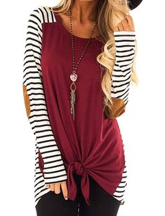 bc7f02fcc08 $11.98 Uincloset Women's Knit Striped Tunic Blouse Tie Knot Henley Tops at  Amazon Women's Clothing store: