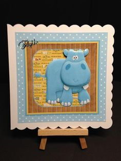 Hippo from the zoo card with large decoupage on Craftsuprint designed by Angela Wake - made by Bettina Jensen -