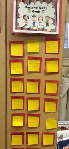 Kids make daily goals, writing them on post-its...First Grade Bloomabilities: End of Day Rockin' Routine! (Freebie, too!)