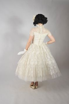 Vintage 1950s Wedding Dress // Stunning Tea Length Full by FabGabs, $650.00... i am in love with this dress.
