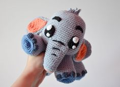 Crochet PATTERN - Grey Elephant Echo by Krawka, cute crochet plush by Krawka on Etsy https://www.etsy.com/il-en/listing/482971793/crochet-pattern-grey-elephant-echo-by