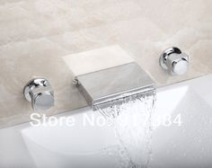 (61.42$)  Buy here - http://ailfz.worlditems.win/all/product.php?id=1739952190 - Good Quality Double Handles Ceramic Deck Mounted Waterfall Bathroom Bathtub Basin Sink Mixer Tap 3 pcs Chrome Faucet Set FG-311