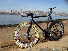 """Kagero 2013"" from Brooklyn. A fixed gear bike with an amazing front wheel...really genuine Tobias!"