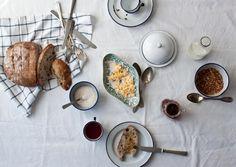 Lazy Breakfast by Little Upside Down Cake - fresh bread, scones, scrambled eggs, hot chocolate