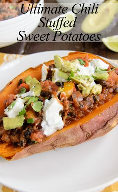 Ultimate Chili Stuffed Sweet Potatoes - this is super healthy and easy! You will never eat chili the same again! Vegan and low fat!