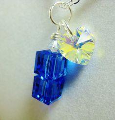 Doctor Who Jewelry Swarovski Sapphire & Crystal by bhueydesigns
