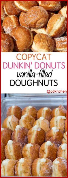 Copycat Dunken Doughnuts Vanilla Filled Doughnuts - A homemade version of Dunkin' Donuts' popular yeast-raised, vanilla cream filled, deep-fried doughnuts. Dunkin' Donuts, Dunkin Donuts Recipe, Fried Doughnut Recipe, Cream Donut Recipe, Deep Fried Donuts, Yeast Donuts, Baked Donut Recipes, Baking Recipes, Dessert Recipes