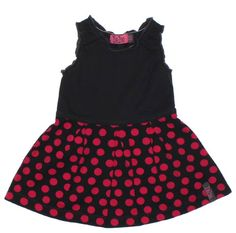 ZieZoo mouwloos jurkje antraciet met fuchsia roze dots