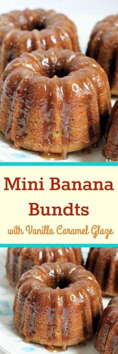 Mini Banana Bundt Cakes with Vanilla Caramel Glaze