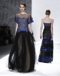 Have to walk backwards in this one since the back is so gorgeous. Tadashi Shoji Fall Collection