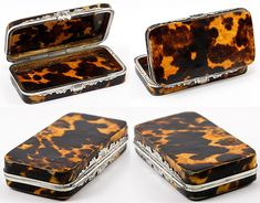 Antique French Sterling Silver & Tortoise Shell Table Snuff Box, Etui