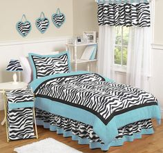 Give your little fashionista the room of her dreams with this fabulous zebra print bedding set from Sweet Jojo Designs. Bold colors and a lightweight, cozy comforter complete the look of this fashion-forward bedding set. Purple Bedding Sets, Turquoise Bedding, Girls Bedding Sets, Teen Bedding, Queen Bedding Sets, Girls Bedroom, Bedroom Decor, Bedroom Ideas, Purple Comforter