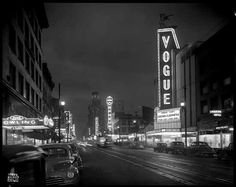 1946 Granville Street at Night, Vancouver, Canada Vintage Old Photo x 650185335178 World Beautiful City, Beautiful Places, Granville Street, Hollywood Photo, Neon Nights, Canada, Photographic Studio, Vancouver Island, Old Pictures