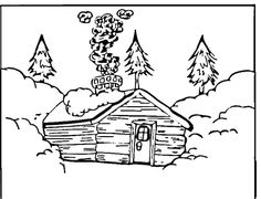Mountain Log Cabin Coloring Pages sketch template