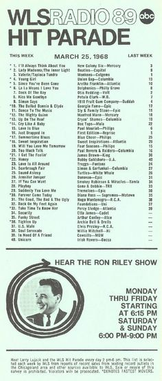 AM 890 WLS Chicago Music Surveys. My older brother's radio could pick up WLS in Chicago. It had a great night DJ named Art Roberts who was a fan of Marvel Comics. 60s Music, Music Hits, Great Song Lyrics, 80s Songs, Rock N Roll Music, Country Music Stars, Sing To Me, Song Playlist, Vintage Music