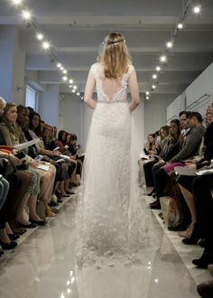 """THEIA Spring 2015 """"Isabella"""" Illusion lace gown with embroidered tulle overskirt with crystal belt"""