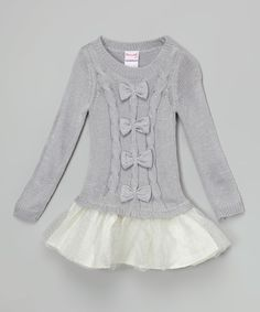 Loving this Gray & Silver Bow Tutu Sweater Dress - Toddler & Girls on #zulily! #zulilyfinds