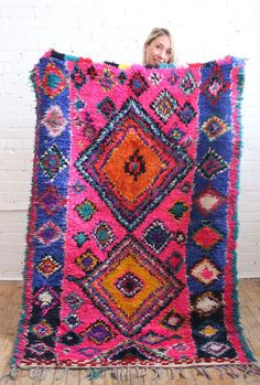 Such a funky rug!! Neon pink Azilal rug from Baba Souk