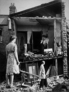 A destroyed house in London after a nighttime bombing raid