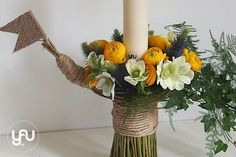 yau flori+yau evenimente+lumanarea de botez Church Flowers, Greek Wedding, Christening, Concept, Candles, Table Decorations, Studio, Design, Home Decor