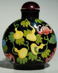 "*Peking Glass Perfume Bottle,  a scene of "" Fu Lu Shou"""