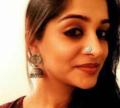 Actor Dipika kakkar in macsjewelry pure silver nosepin and germansilver jhumka