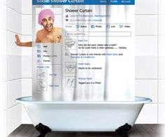 The Social Shower Curtain will bring your profile to life in the bathroom! It has a transparent section so you can create a profile. It's perfect for the social networker in your life! Awesome!