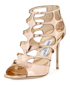 98cf3f171c6c Jimmy Choo Ren Mirrored Caged 100mm Sandal