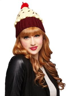 Sweet Getup Hat in Red Velvet - Knit, Red, Tan / Cream, Solid, Poms, Fall, Winter, Better, Variation, Kawaii, Quirky