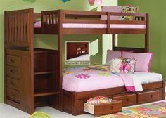 Acadia Merlot Stair Stepper Twin/Full Bunk Bed