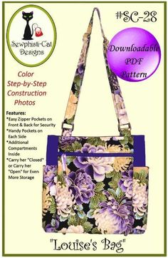 Louise's Bag is the ultimate tote with easy construction, simple zipper installation, and lots of pockets for organizing your contents. The bag features la Tote Pattern, Bag Patterns To Sew, Sewing Patterns, Quilted Purse Patterns, Handbag Patterns, Fabric Purses, Fabric Bags, Fabric Basket, Louis Bag