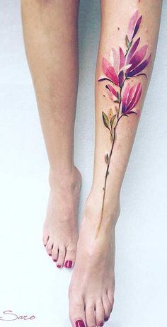 Magnolia Watercolor Flower Leg Tattoo Idea