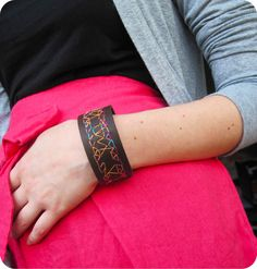 SALE was 22 USD Hand Embroidered Leather Cuff by maycily on Etsy, $14.00