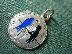 victorian solid silver enamel german charm 2 swallows on a wire love token coin